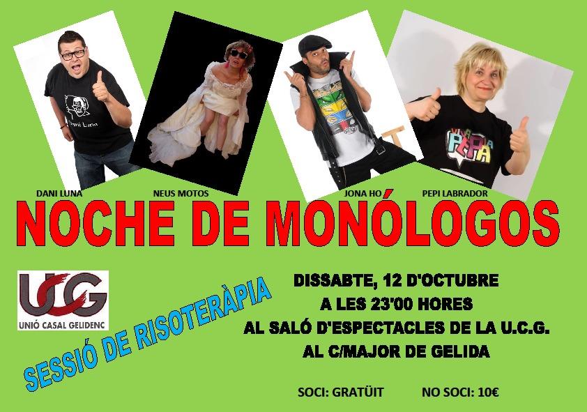 Cartel noche de monólogos en Gelida Dani Luna, Jona Oh, Pepi Labrador y Neus Motos